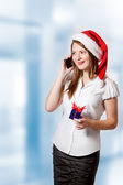 Young woman calling on the phone — Stock Photo