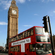 London scene, bus and Big Ben — Stock Photo