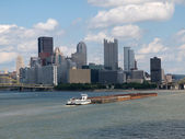 Pittsburgh Waterfront with Barge — Stock Photo