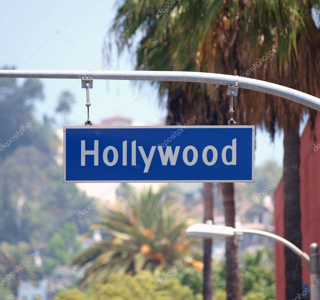 Hollywood Bl sign with palm trees in Los Angeles, California. — Stock Photo #7914378