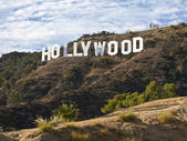 Por la tarde hollywood sign — Foto de Stock