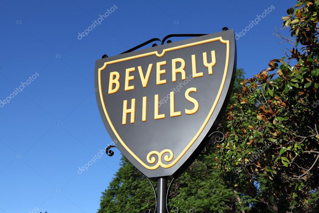 Beverly Hills, California, USA - September, 4th 2010:  The world famous Beverly Hills Shield sign in bright morning light. — Stock Photo #7926548