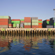 Stock Photo: Waterfront Containers in Warm Afternoon Light.