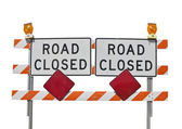 Old Road Closed Sign Isolated — Stock Photo