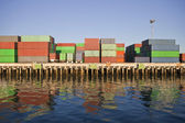 Waterfront Containers in Warm Afternoon Light. — Stock Photo