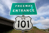 Freeway Entrance Sign US 101 — Stock Photo