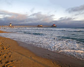 Sunset at Huntington Beach — Stock Photo