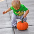 Boy with Pumpkin — Stock Photo