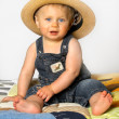 Boy with Straw Hat — Stock Photo