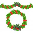 Christmas garland and a wreath with holly berries — Stock Vector
