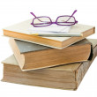 Old book with glasses and plates for the notes. — Stock Photo