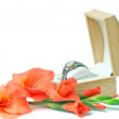 Gift set - women's watches and gladiolus. — Stock Photo