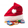 Santa Claus hat with chocolate money. — Stockfoto