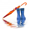 Rubber boots and a colorful umbrella with reflection in water — Stock Photo