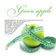 Green apple on white background — Stock Photo