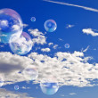 Soap bubbles in the sky — Stock Photo