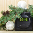 New Year background with Christmas tree, Christmas decorations and clocks — Stok fotoğraf