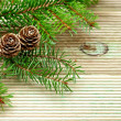 Pine branch with cones on the background of unplaned boards — Stock Photo