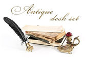 Antique desk set and books on a white background. — Stock Photo