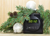 New Year background with Christmas tree, Christmas decorations and clocks — Stockfoto