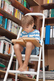 Boy in library reading book — Stockfoto