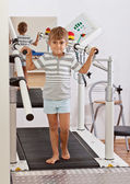 Boy on a Treadmill — Stock Photo