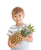Boy with pineapple isolated on a white background — Foto de Stock