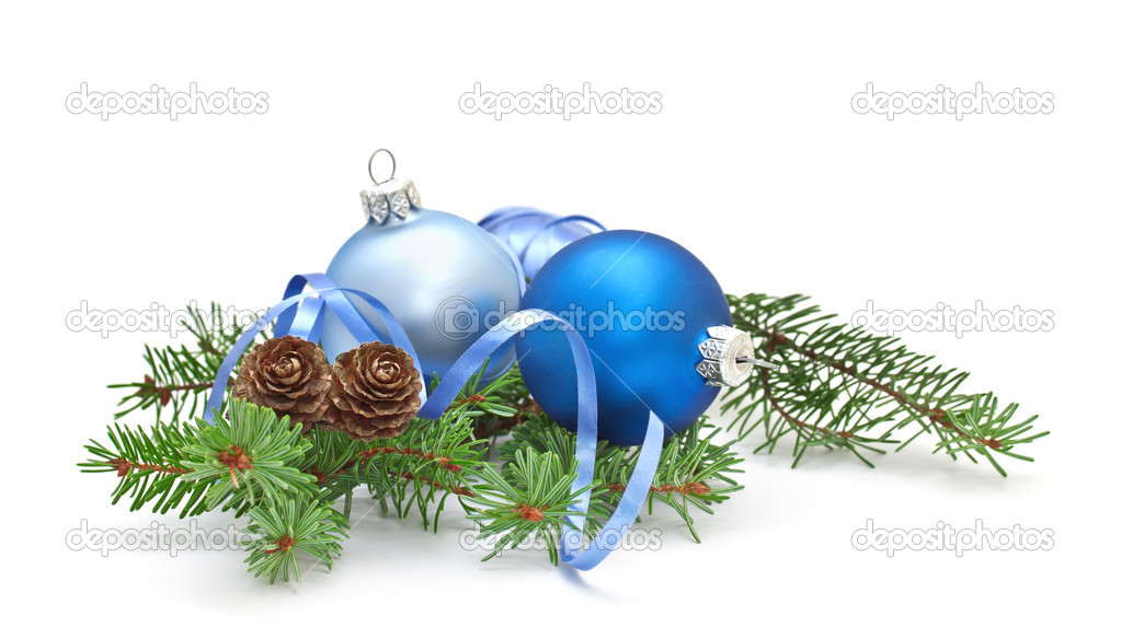 Pine branch with pine cones and Christmas decorations on a white background. — Photo #7958683