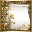 Wedding card with a floral pattern and place for text - Stok Vektör
