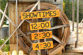 Showtime sign for rural performance — Stock Photo