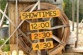 Showtime zeichen für ländliche leistung — Stockfoto