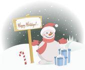 Snowman Happy Holidays — Stock Vector