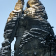 Man and woman silhouette in Rock Town, Czech Republic - ストック写真