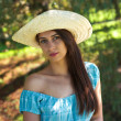 Girl in blue dress and hat — Stock Photo #7915145