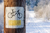 Bicycle tourist track during the winter — Stock Photo