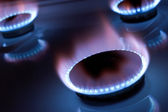 Gas burner in the kitchen oven — Stock Photo