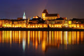 Night scene with medieval city — Foto de Stock