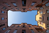 Symmetrical view on the old block — Stock Photo