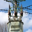 Stock Photo: Transformer station on the pylon