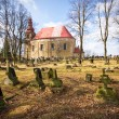 Cemetery scene with lot of graves and church — Stock Photo