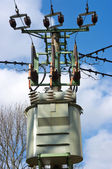 Transformer station on the pylon — Stock Photo