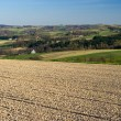 Landscape with plowed field on first plan — Stock Photo