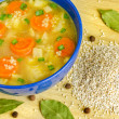 Barley soup in blue pottery — Stock Photo