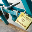 Padlocks on Love Bridge in Wroclaw, Poland — Stock Photo