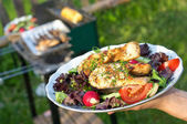 Saumon grillé barbecue floue sur le second plan — Photo