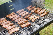 Traditional Croatian cevapcici on the grill — Stock Photo