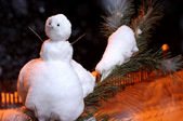 Little snowman on the branch — Stock Photo