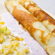 Pancake with marmalade, yogurt sauce and yellow fruits - ストック写真