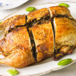 Stuffed chicken with buckwheat — Stock Photo