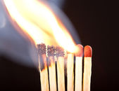 Burning matchs heads (macro) — Stock Photo